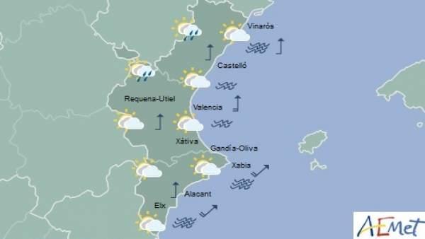 Intervals nuvolosos i temperatures de fins a 23ºC aquest dimecres a la Comunitat Valenciana