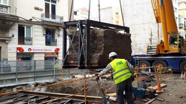 Traslado de la muralla trabajos del metro