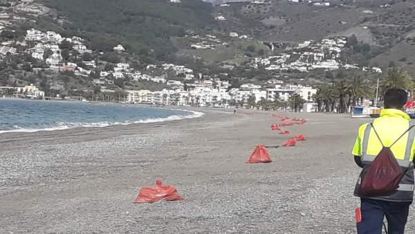 Tareas de limpieza en las playas de Almuñécar