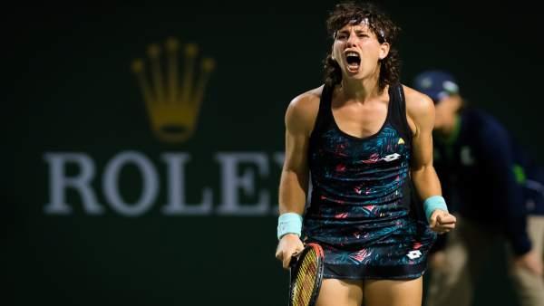 Carla Suárez celebra su victoria