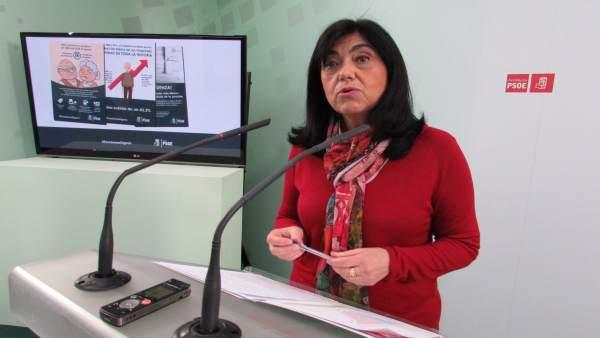 Francisca Medina en su comparecencia sobre las pensiones.