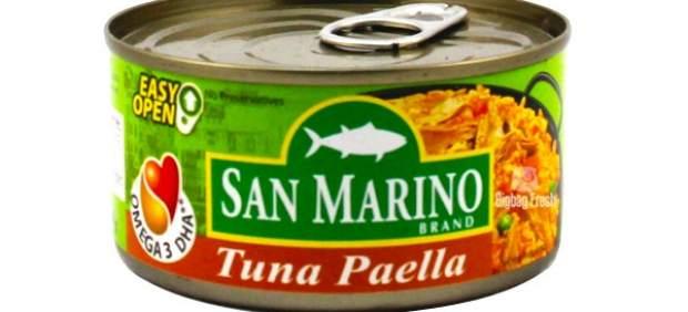 Paella de atún en lata