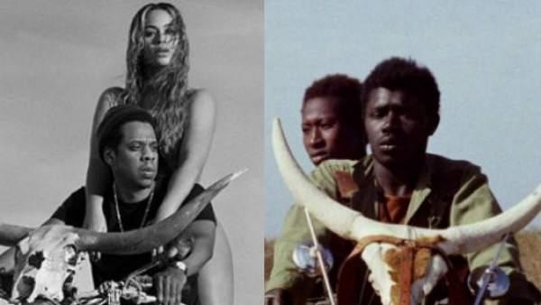 A la izquierda, cartel de 'OTR II' (2018). A la derecha, una imagen de la película de Djibril Diop Mambéty 'Touki Bouki' (1973).