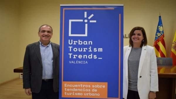 Toni Bernabé y Sandra Gómez en la presentación de las #UrbanTTValencia en diciem