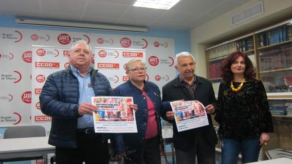 Jiménez, Cánovas, Conchillo y Gómez, en la rueda de prensa