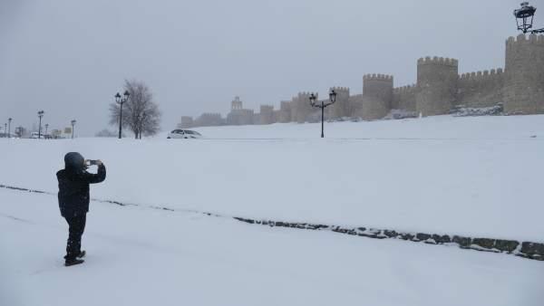 Nieve en Ávila (foto de archivo)