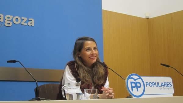 La concejal del PP, María Navarro, en rueda de prensa este viernes