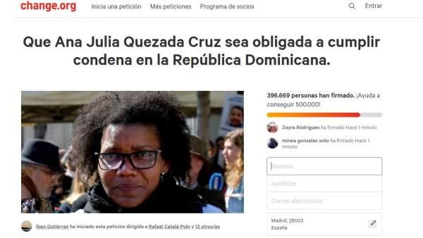 Petición en change.Org para que  Ana Julia Quezada cumpla condena en República
