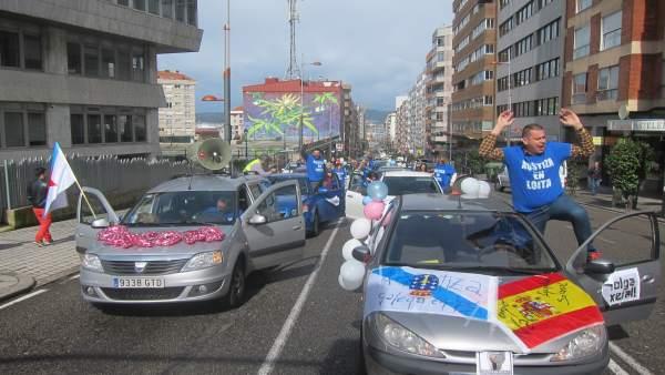 Manifestación en coches de los trabajadores de Justicia