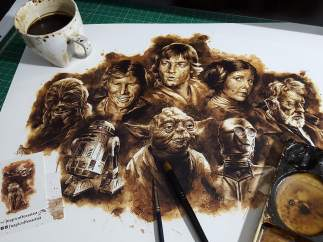 Personajes de Star Wars pintados con café por Juapi