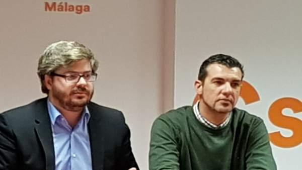 Vicente Sánchez secretario de organización de Cs Málaga con Hervías