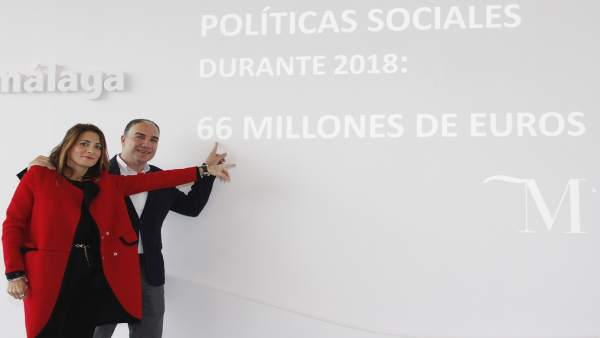 Ana Mata y Elías Bendodo en rueda de prensa en Málaga ayudas presupuesto 2018