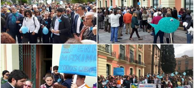 Decenas de personas, entre ellas López Miras y Ballesta, claman en Murcia a favor de la prisión permanente revisable