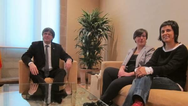 Carles Puigdemont y Anna Gabriel en una reunión en Palau/ARCHIVO