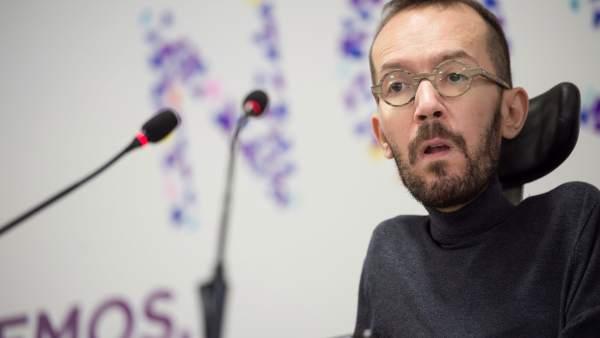 Pablo Echenique, secretario de Organización de Podemos, este lunes en la sede de su partido.