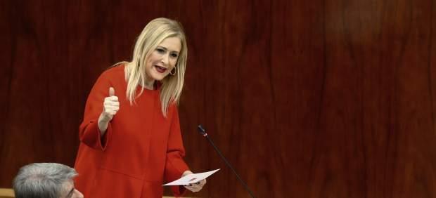 Cristina Cifuentes, presidenta de la Comunidad de Madrid, durante una intervención en la Asamblea regional.