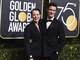 Los actores Claire Foy y Matt Smith en la 75ª edición de los Globos de Oro, en enero de 2018.