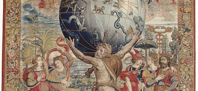 Hércules sostiene la esfera celeste. Manufactura bruselense, atribuido a Bernard van Orley, siglo XVI