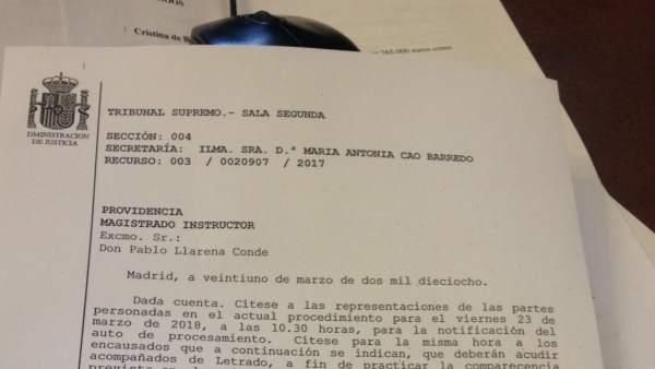 Providencia del juez Llarena.