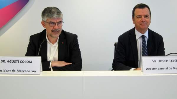El presidente de Mercabarna, Agustí Colom, y el director general Josep Tejedo.