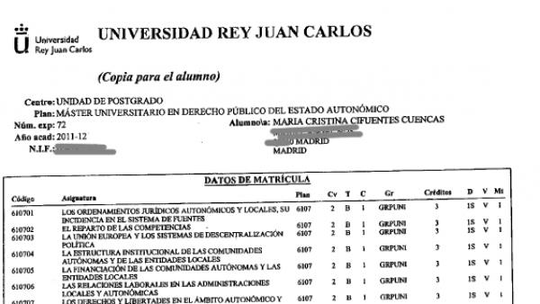 Documentos aportados por Cristina Cifuentes