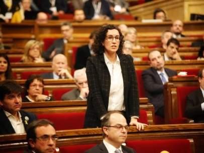 La diputada de ERC Marta Rovira en la votación de la investidura.