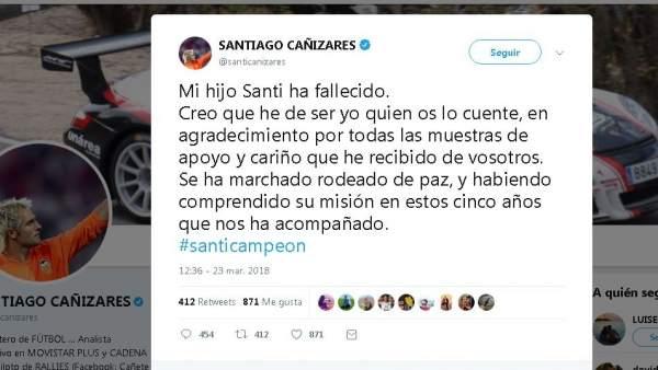 Muere Santi, el hijo de Santiago Cañizares