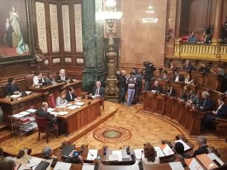 Pleno en el Ayuntamiento de Barcelona.