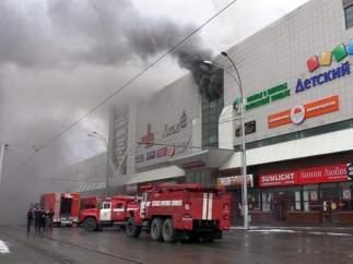 Incendio en un centro comercial de Siberia