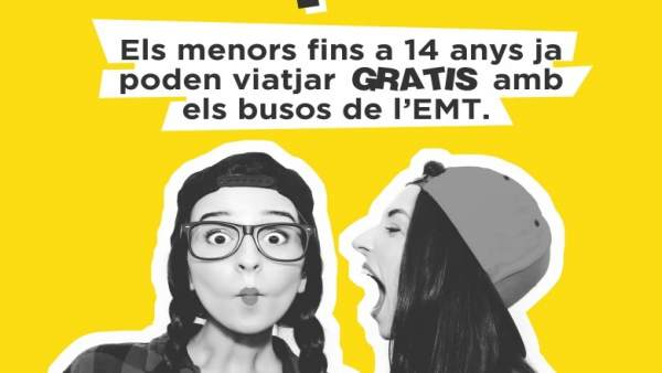 Campaña para informar de la gratuidad de la EMT para menores