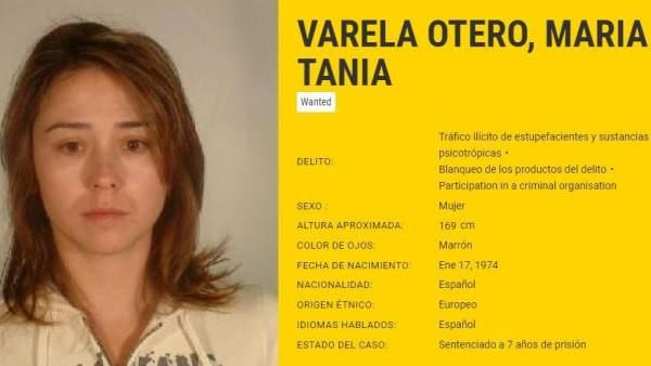 Ficha plública de Tania Varela en Europol.