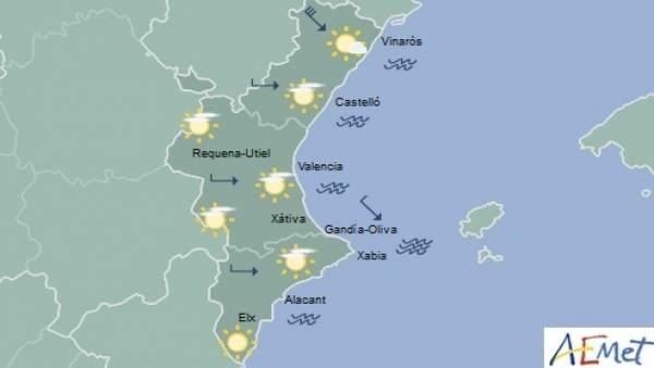 Cels poc nuvolosos i màximes de fins a 25 graus aquest dimarts a la Comunitat Valenciana