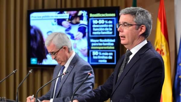 Manuel Jiménez Barrios y Juan Carlos Blanco tras el Consejo de Gobierno