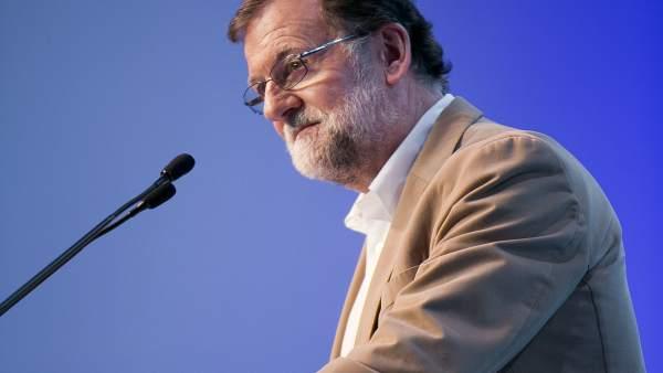 Mariano Rajoy durante el 17º Congreso Autonómico de Murcia