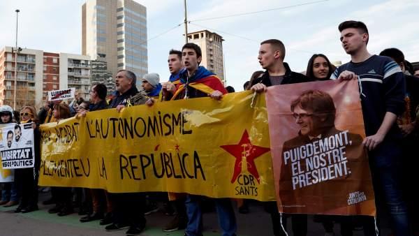 Miembros de los CDR en las movilizaciones por la independencia de Cataluña