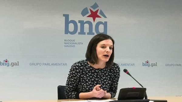 Olalla Rodil, diputada del BNG, en rueda de prensa