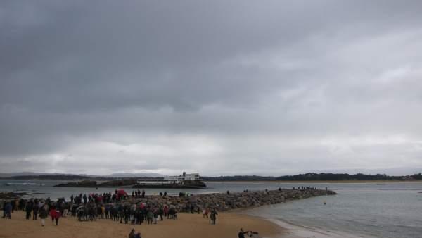 Protesta contra diques Santander