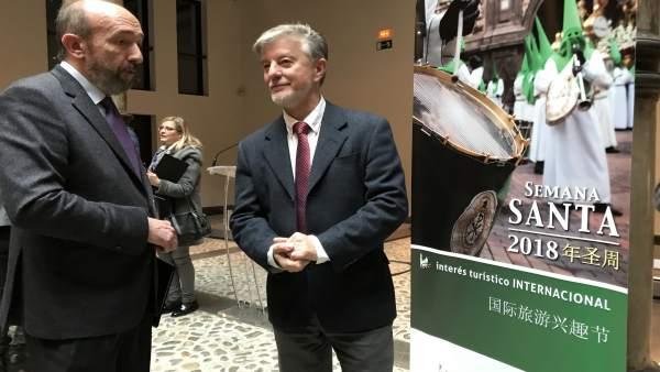 Presidente  Junta de cofradías de Zaragoza, Mariano Julve y alcalde Santisteve