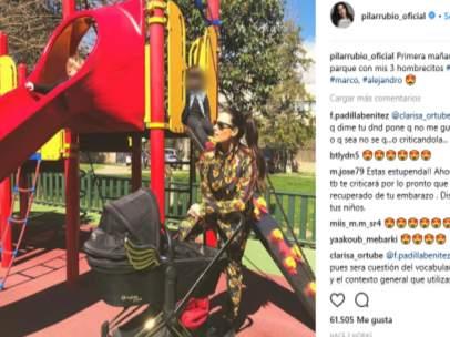 Pilar Rubio disfruta de un día de parque con sus hijos