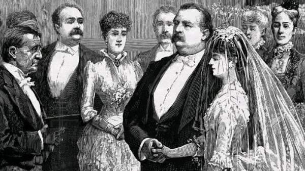 La boda del presidente de EE UU Grover Cleveland y Frances Folsom, celebrada en 1886 en la Casa Blanca , en un dibujo de T. de Thulstrup.