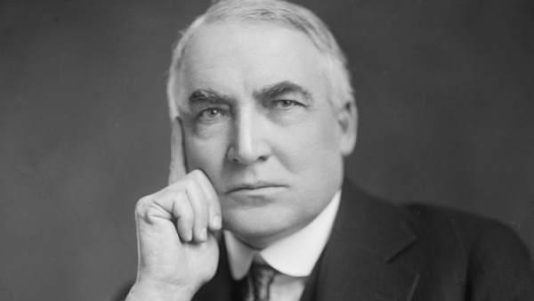 El presidente de Estados Unidos Warren Harding, hacia 1920.