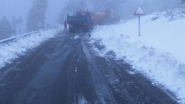 Nieve en carreteras de Lugo