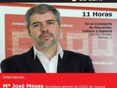 Cartel de acto sindical en Cuenca con Unai Sordo