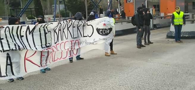 Acción de los CDR para dejar pasar a los coches sin pagar el peaje de la C-32