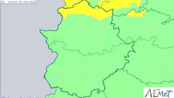 Aviso amarillo en el norte de Cáceres para el 3 de abril