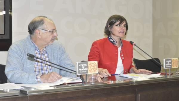 Allué y Bescós (PAR), en rueda de prensa este martes en las Cortes