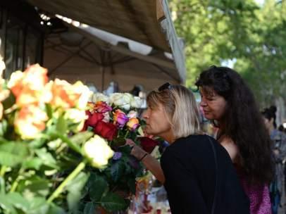 Rosas en La Rambla por Sant Jordi