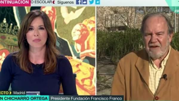 Mamen Mendizábal y el presidente de la Fundación Francisco Franco