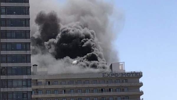 Incendio en el Hotel Expo de Barcelona.