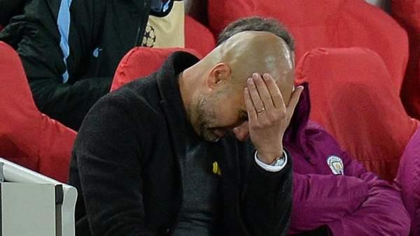 Pep Guardiola, en Anfield